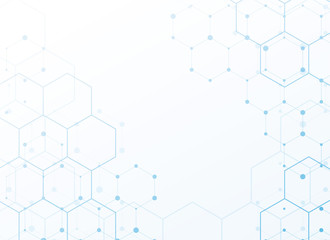 white background with blue tech hexagonal pattern design