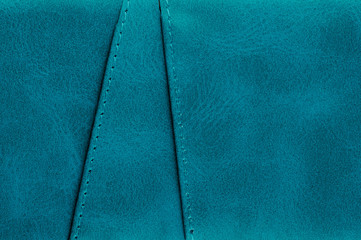 Blue leather with stitches