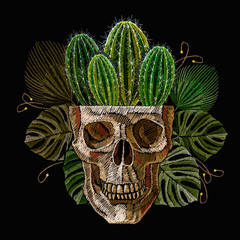 Human skull, cactus and palm leaves. Embroidery. Ancient treasures in the jungle art. Template for clothes, textiles, t-shirt design