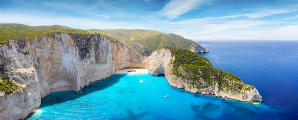 Aerial panoramic view of the famous shipwreck beach at Zakynthos island, Ionian Sea, Greece, with blue and turquoise water Fototapete