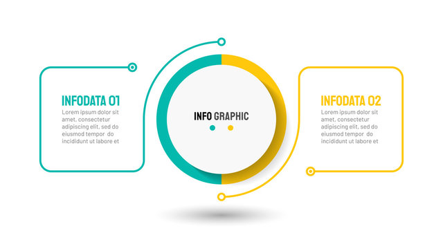 Thin line flat element design template. Business concept with 2 steps, options, processes. Vector illustration.