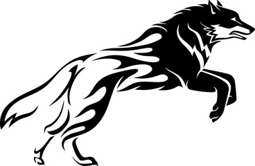 Wolf Tattoo Leaping, Isolated Illustration