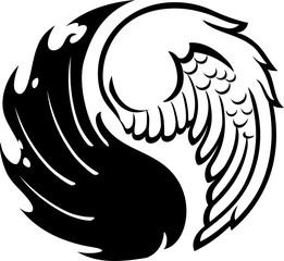 Yinyang Symbol of Good and Evil Wings