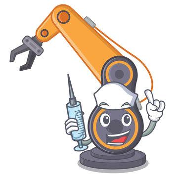 Nurse toy industrial robotic hand the a cratoon