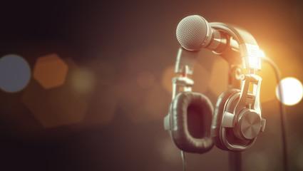 Microphone and headphones..Audio, music, multimedia background.
