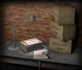 Basement table with box and top secret file. Table lamp, magnifying glass and pencil are the objects placed on the table. Important sheets and documents. Abandoned and forgotten documents.
