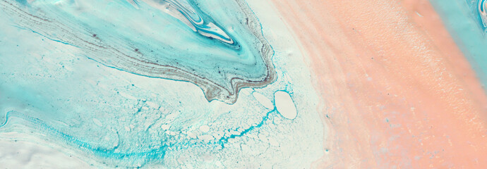 photography of abstract marbleized effect background. Blue, pink, mint and white creative colors. Beautiful paint. banner