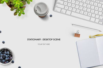 modern layout made of stationary, coffee cup, food, plants, keyboard