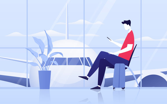 Vector illustration of a young man with phone sitting in the departure lounge at the airport