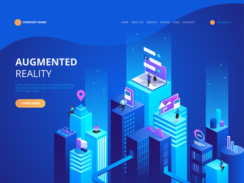 Isometric concept virtual and augmented reality