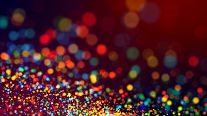cloud of multicolored particles in the air like sparkles on a dark background with depth of field. beautiful bokeh light effects with colored particles. background for holiday presentations. 46