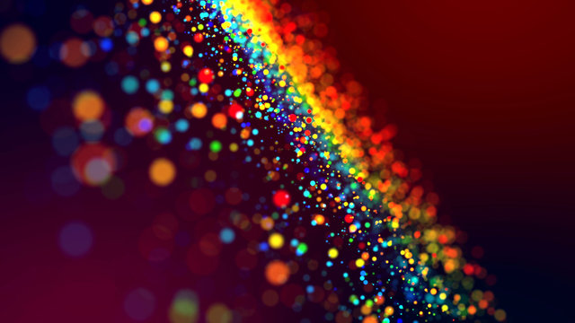 cloud of multicolored particles in the air like sparkles on a dark background with depth of field. beautiful bokeh light effects with colored particles. background for holiday presentations. 43