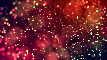 cloud of multicolored particles in the air like sparkles on a dark background with depth of field. beautiful bokeh light effects with colored particles. background for holiday presentations. 64