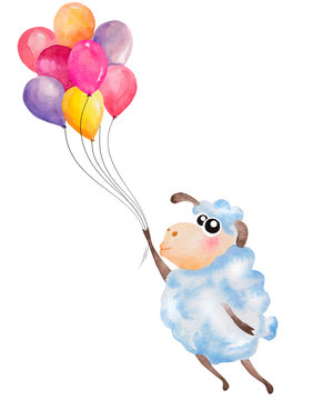 Watercolor cute cartoon sheep flying with air balloons. Hand drawn illustration, can be used for kid's or baby's shirt design, fashion print design. Happy Birthday greeting card