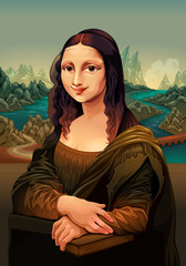 Door stickers kids room Interpretation of Mona Lisa, painting by Leonardo da Vinci