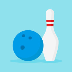 Bowling ball and pin isolated on blue background. Flat style vector illustration.