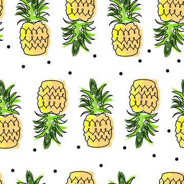 Tropical seamless pattern with cute hand drawn doodle animals