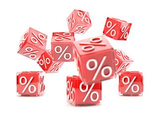 Red sale cubes, promotion concept - 3d illustration