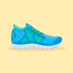 Blue running shoes isolated on yellow background. Sport sneakers vector illustration.