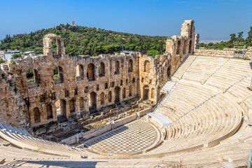 Fototapete - Odeon of Herodes Atticus at Acropolis, Athens, Greece. It is one of the top landmarks of Athens. Panorama of antique amphitheater. Scenic view of famous Ancient Greek ruins in the Athens center.