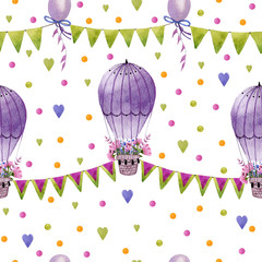 Seamless pattern with hot air balloons, flag garlands,ballons, hearts, dots in pastel colors.Watercolor hand drawn pattern on white background. Perfect for wrapping paper, wallpaper,kids textile.