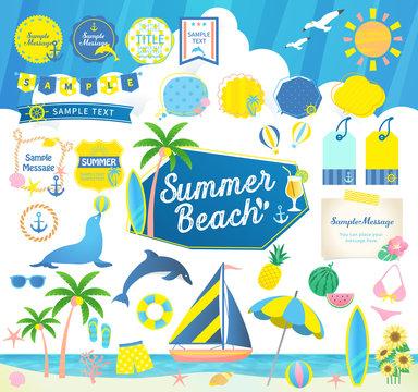 夏のビーチ、海と空/見出しフレーム吹き出しセット
