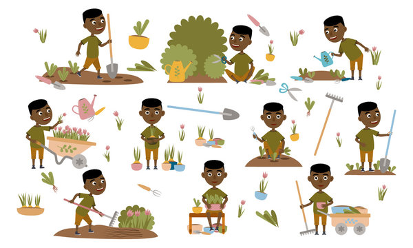 Set African black boy gardening plants, weed beds, watering seedlings, pruning bushes and trees, working in the garden. People and garden tools. Vector illustration