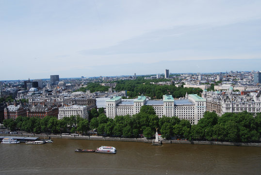 View from London Eye on center of London, UK