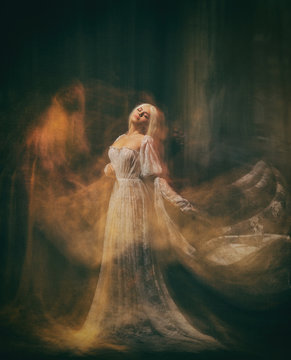Slave, servant of darkness ... Queen albino. A blonde girl, like a ghost, in a white vintage dress, in a black room, a gothic, artistic photograph of a sorceress and a magician. Mary Magdalene