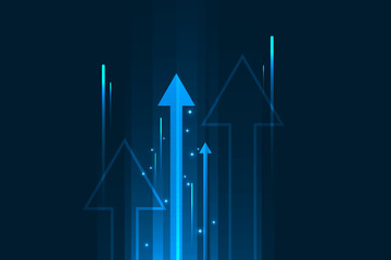 Up arrows movement blue light, data internet speed concept.