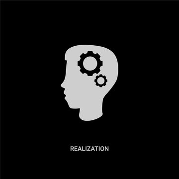white realization vector icon on black background. modern flat realization from general concept vector sign symbol can be use for web, mobile and logo.
