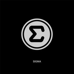 white sigma vector icon on black background. modern flat sigma from greece concept vector sign symbol can be use for web, mobile and logo.