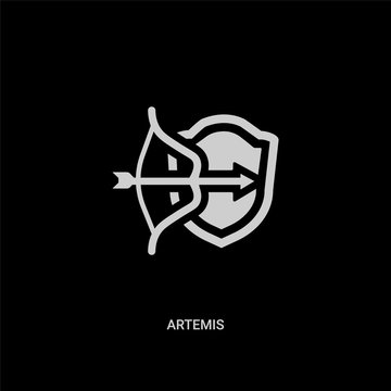 white artemis vector icon on black background. modern flat artemis from greece concept vector sign symbol can be use for web, mobile and logo.