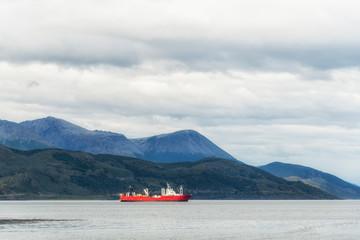 Сargo ship in Beagle Channel, Argentina. Province of Tierra del Fuego. Patagonia