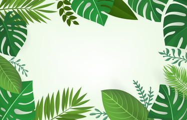Summer season composition with green tropical leaves Wall mural