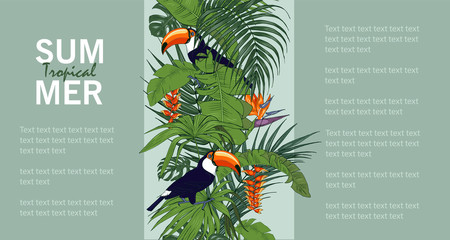 Tuinposter Botanisch Toucan and tropical plants, template for cards, invitations, posters, booklet, vector illustration