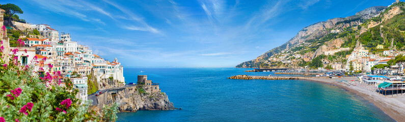 Panoramic collage of Amalfi in province of Salerno, region of Campania, Italy Fototapete