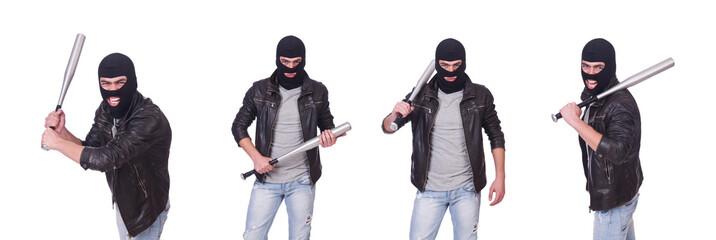 Male hooligan with bat on white - fototapety na wymiar