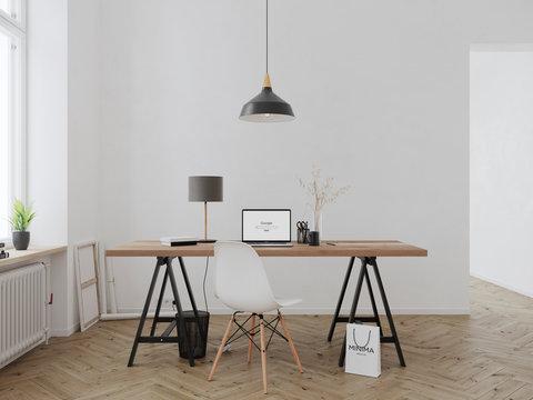 Modern minimal interior with macbook