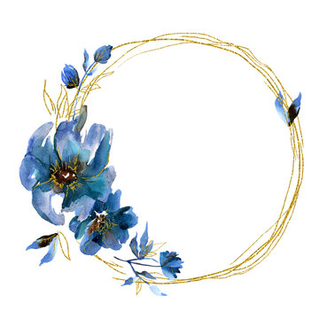 Watercolor floral wreath with blue flowers and golden leaf