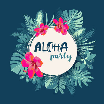 Aloha Party. Trendy summer vintage tropical print with a round frame