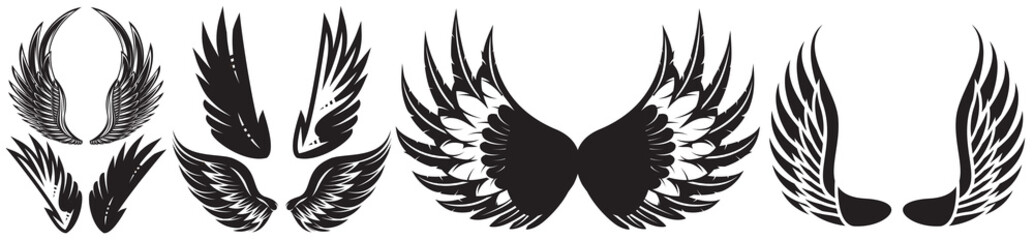 Vector monochrome set of different wings for design Wall mural