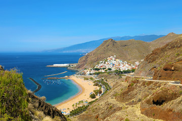 Tenerife panoramic view of San Andres village and Las Teresitas Beach, Canary Islands, Spain