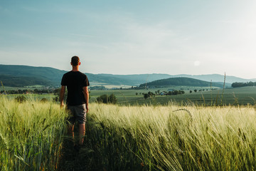Young man standing in rural czech landscape with wheat field, hill and trees at sunset Wall mural