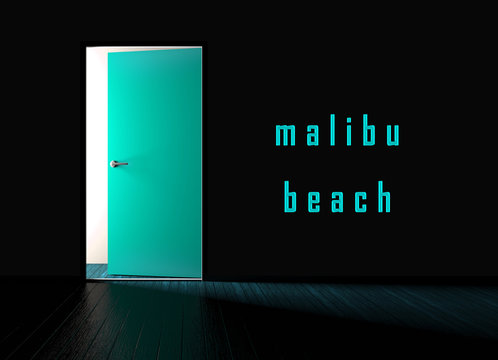 Malibu Beach House Property Door Shows Real Estate Development For Investment - 3d Illustration