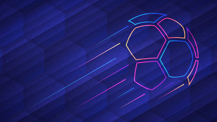 Abstract glowing neon colored soccer ball over blue background