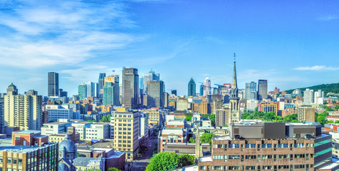 Montreal, Canada, city skyline during the daytime. Aerial view of the downtown district Wall mural