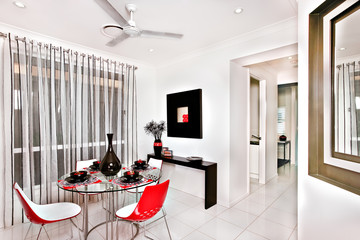 Modern dining room decorated with many fancy items in the luxurious house