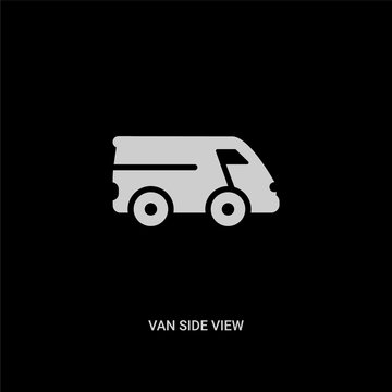 white van side view vector icon on black background. modern flat van side view from mechanicons concept vector sign symbol can be use for web, mobile and logo.
