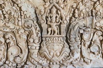 Sandstone lintel depicting Indra on elephant Airavata. Khmer art in Thailand. Fototapete
